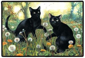 Cats And Dandelion Decorative Pet Mat